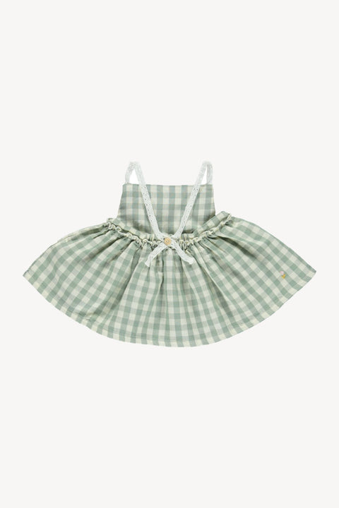 fin & vince ss20 picnic tunic dress robe chasuble pique-nique gingham vert green baby bébé organic biologique coton cotton été summer vêtements clothing apparel