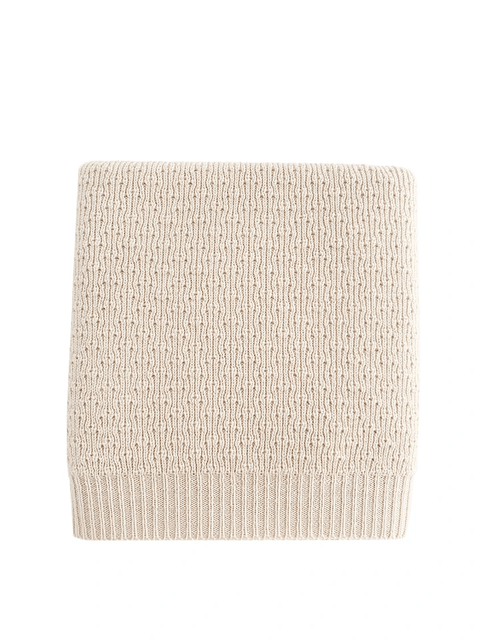 couverture blanche tricot merinos merino whool knit baby blanket off-white HVID
