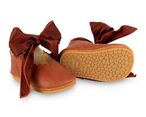 donsje lieve lining baby shoes cognac leather + mahogany rubber soles
