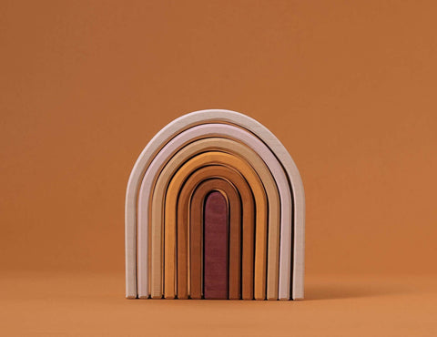 Raduga grez montreal quebec canada small oval arch stacking toy rainbow ar-en-ciel oval à empiler jouet de bois wooden toy