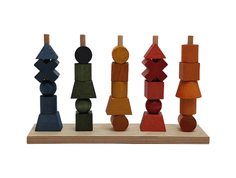 Formes et couleurs à empiler couleurs wooden story montreal quebec rainbow stacking toy
