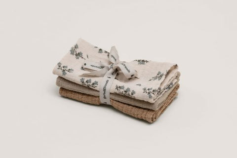garbo & friends trois langes cache-épaules bluebell mousseline burp cloths 3 pcs