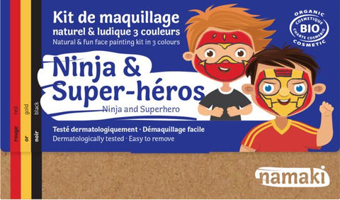 namaki maquillage pour enfants kids make up ninja et super heros red gold black