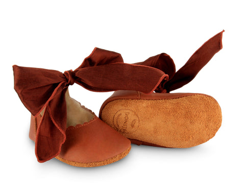 donsje lieve lining baby shoes cognac leather + mahogany