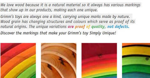 text: we love wood because it is a natural material so it always has various markings that show up in our products, making each one unique.''