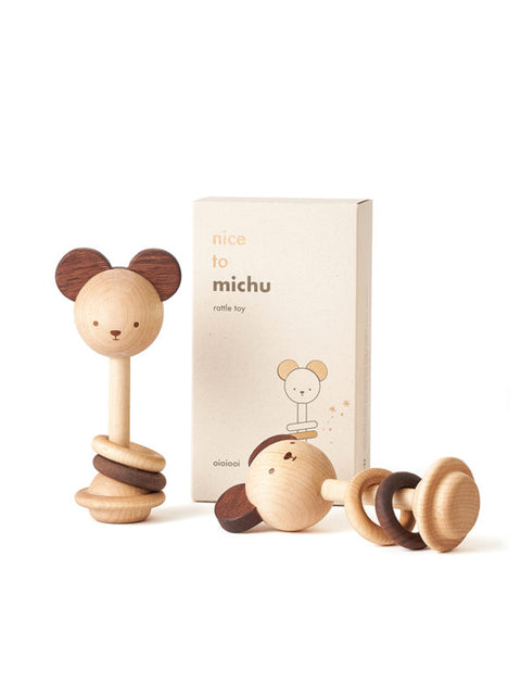oioiooi nice to michu hochet de bois wooden rattle