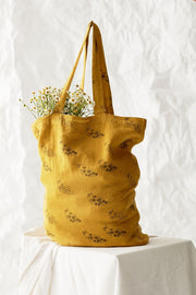the campamento ss20 les bons vivants sac cabas fourre-tout bag tote grapes raisins yellow jaune moutarde accessory accessoire linen lin tc-ss20-51