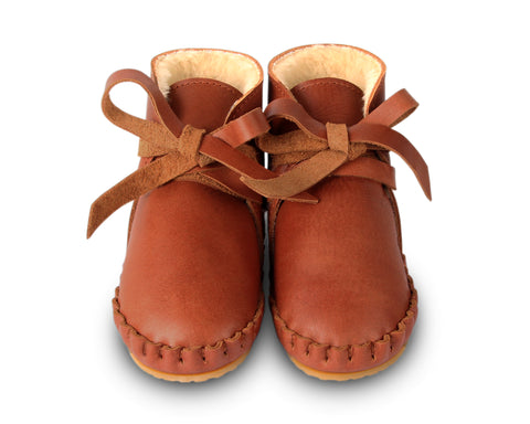 donsje pina lining baby shoes cognac classic leather