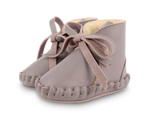donsje pina lining baby shoes dark lavender leather