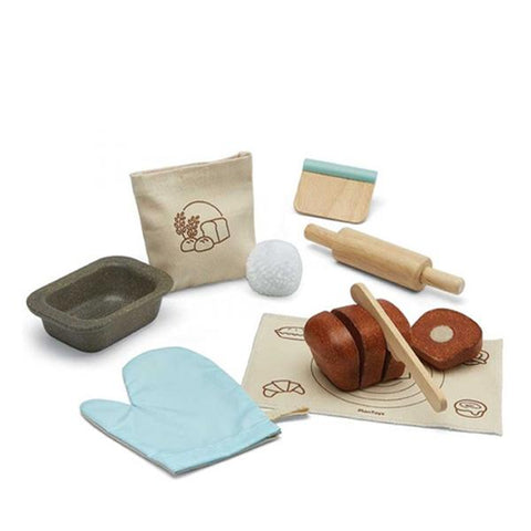 plan toys bread loaf set 3625 kit de boulanger pain