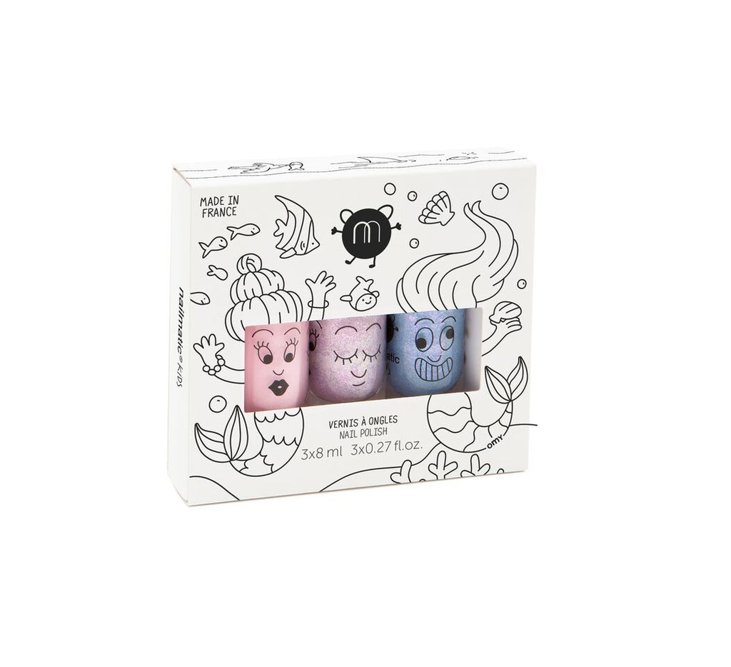 Nailmatic Montreal Canada kids washable nail polish super bella sheepy vernis à ongles lavable pour enfants brillant shiny glittery glitters mermaids sirènes set ensemble coffret