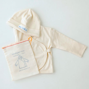 fog linen works montreal quebec canada cardigan et bonnet cotton baby cap and cardigan