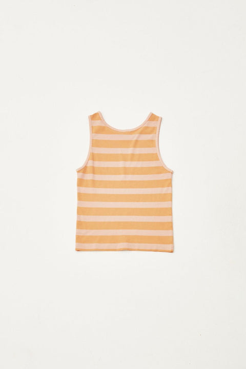 the campamento les bons vivants ss20 TC-SS20-06 stripped sleeveless tshirt camisole rayée tank top jaune yellow kids enfants apparel vêtements