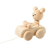 Sarah and Bendrix Hugo rolling bear car pull-toy wood toy for babies jouet de bois roulant pour bébé natural naturel handmade fait main Montreal Quebec Canada