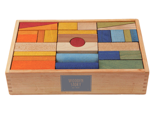 Ensemble de 63 blocs XL de couleurs wooden story montreal quebec 63 blocks XL rainbow
