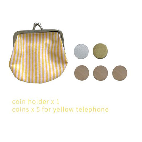 kiko+ and gg* toy telephone jouet en bois jaune yellow wood // cotton coin holder porte-monnaie coton