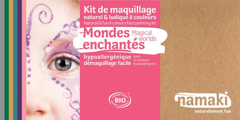 Mondes enchantés enchanted worlds ensemble kit de 8 couleurs colors namaki montréal québec canada montreal quebec maquillage cosmétiques cosmétique make-up dress-up déguisement enfants kids biologique organic natural naturel