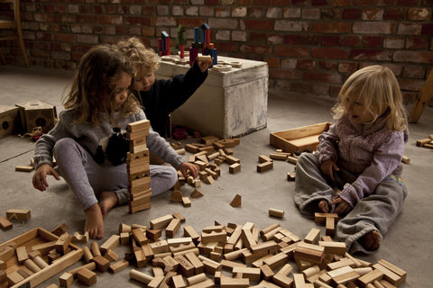 Wooden Story Montreal Canada ensemble de 64 blocs XL de construction naturel building blocs
