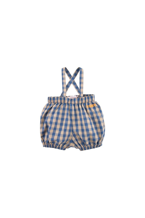 tiny cottons ss20 dolce far niente ''tiny'' vichy braces bloomer short bouffant vichy marine bébé baby