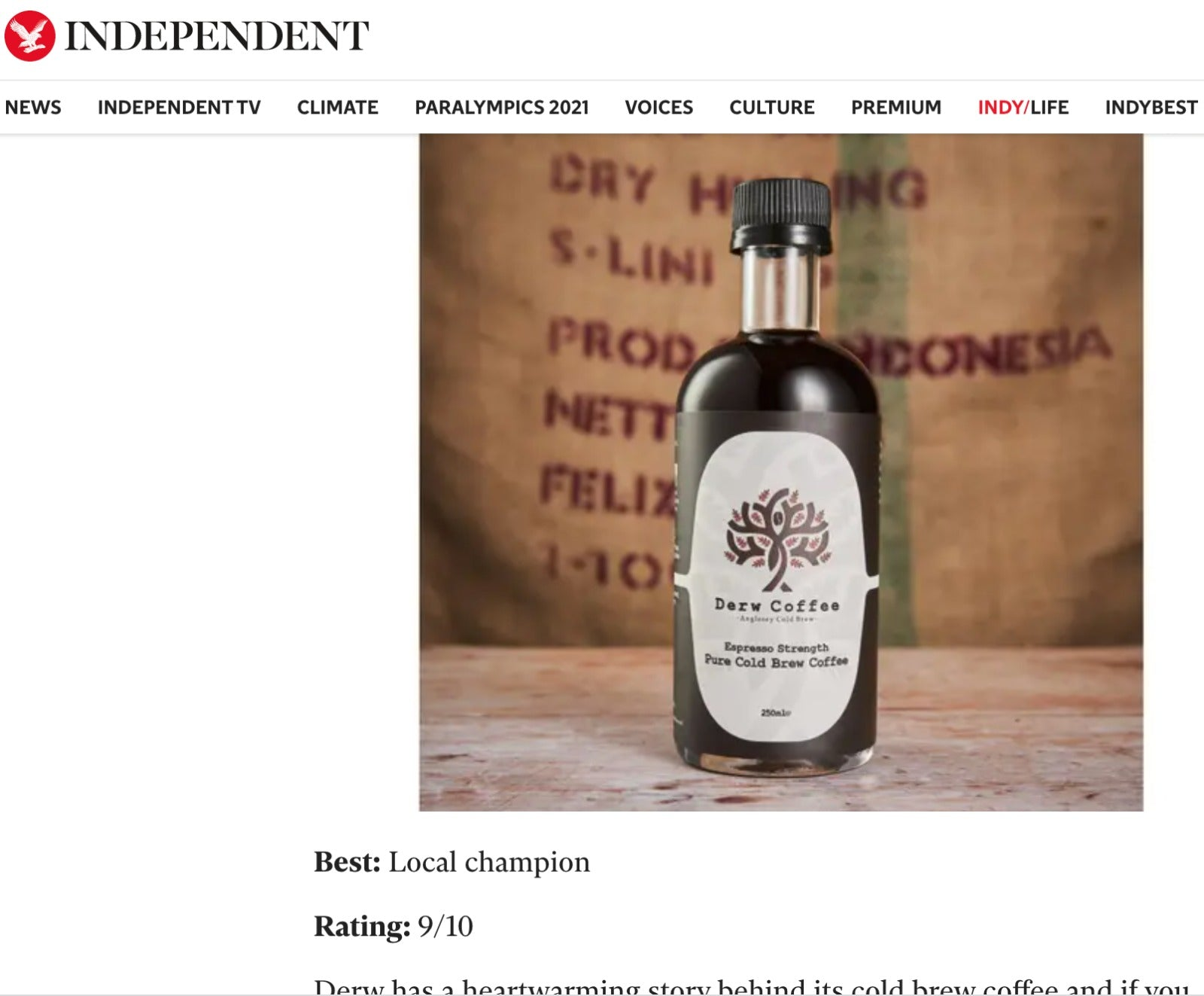 Best Cold Brew Coffee by The Independent