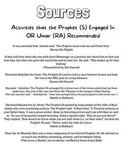 Physical Activities of Prophet (S) OR Recommended by Umar Ibn al-Khattab (RA) - Sort and Match