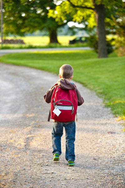 Child walking home with backpack