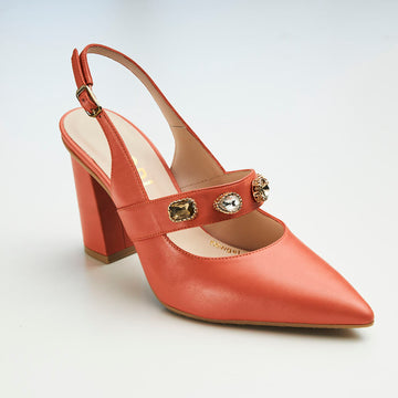 Lodi Coral Leather Slingback - nozomishoes.ie