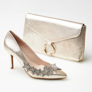 Marian Gold Clutch Bag - nozomishoes.ie