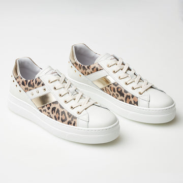 NeroGiardini White and Leopard Trainer - nozomishoes.ie