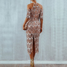 Load image into Gallery viewer, Elegant Sequins Evening Party Dress Vestidos Verano 2019 New Mesh Runway Dress