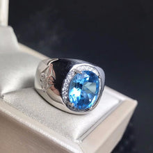 Load image into Gallery viewer, Royal Blue Topaz men's RING 925 silver customized ring size new recommended simple ring