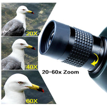 Load image into Gallery viewer, USCAMEL Bird Watching Waterproof Spotting Scope - 20-60x60 Zoom Monocular Telescope - With Tripod - with Camera Photography Ada