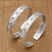 Load image into Gallery viewer, Couple Opening Bangle 100% S999 sterling silver Women Men Smooth Scrub Buddha Scripture Mantra Bracelet Bangle jewelry