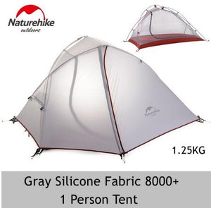 Naturehike Silicone 1-2 Person Double Layers Tent NH Outdoor One Bedroom Camping Tent With Mat 2 Colors 3 Seasons