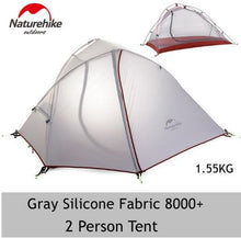 Load image into Gallery viewer, Naturehike Silicone 1-2 Person Double Layers Tent NH Outdoor One Bedroom Camping Tent With Mat 2 Colors 3 Seasons