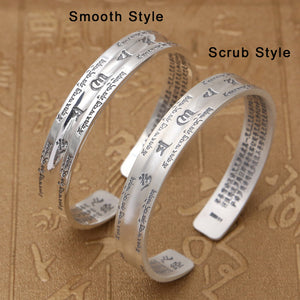 Couple Opening Bangle 100% S999 sterling silver Women Men Smooth Scrub Buddha Scripture Mantra Bracelet Bangle jewelry