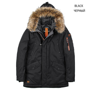TIGER FORCE Winter Jacket Men Padded Parka Russia Man Winter Coat Artificial Fur Big Pockets Medium-long Thick Parkas Snowjacket