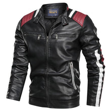 Load image into Gallery viewer, 2019 Autumn Winter Men's Leather Jacket Casual Fashion Stand Collar Motorcycle Jacket Men Slim Style Quality Leather Jacket Men