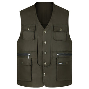 2019 Men Multi-Pocket Classic Waistcoat Male Sleeveless Unloading Solid Coat Work Vest Photographer Tactical Masculino Jacket