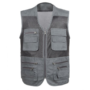 Large Size 2019 Mesh Quick-Drying Vests Male with Many Pockets Mens Breathable Multi-pocket Fishing Vest Work Sleeveless Jacket