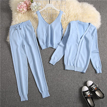 Load image into Gallery viewer, ALPHALMODA 2020 Spring Candy Color Knitted Cardigans + Camisole + Pants 3pcs Fashion Suit Women Seasonal Stylish Clothes Set
