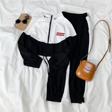 Load image into Gallery viewer, Spring Autumn Korean Suit Female Casual Weird Girl Hip Hop Slim Fashion Casual Sports Harajuku Style Two-piece Suit Women Tops
