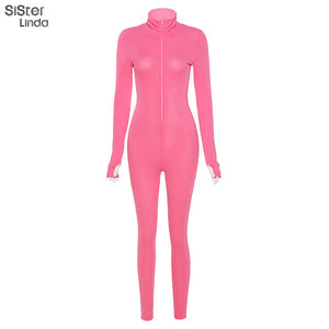 Sisterlinda Solid Zipper Sexy Turtleneck Fitness Jumpsuits Women Full Sleeve Slim Rompers Mujer Autumn Skinny Playsuit Bodysuit