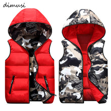 Load image into Gallery viewer, DIMUSI Mens Jacket Sleeveless Vest Winter Male Double-Wear Cotton-Padded Hooded Vest Coats Men Thick Warm Waistcoats Clothing