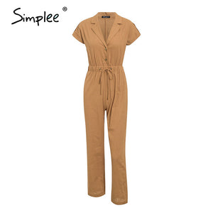 Simplee Casual high waist lace up women jumpsuits Buttons wide leg female playsuits romper Spring summer office ladies overalls