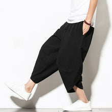 Load image into Gallery viewer, Summer Cotton Harem Pants Men Casual Hip Hop Trousers Drawstring Cross Bloomers Calf-Length Pants Joggers Streetwear