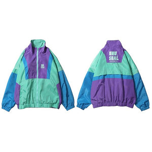 Autumn 2020 Hip Hop Windbreaker Jacket Oversized Mens Harajuku Color Block Jacket Coat Retro Vintage Zip Track Jacket Streetwear