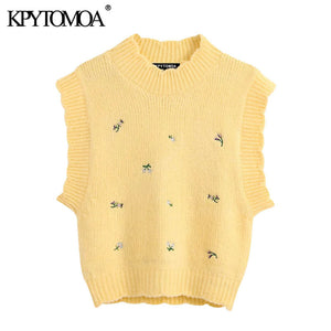 KPYTOMOA Women 2020 Sweet Fashion Floral Embroidery Knitted Vest Sweater Vintage High Neck Sleeveless Female Waistcoat Chic Tops