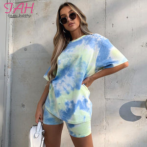 IAMHOTTY   Tie Dye Print Basic Tshirt Shorts Two Piece Set Women Casual Outfits lounge Wear Jogging Femme Biker Shorts Tees Summ