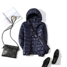 Load image into Gallery viewer, 90% Ultra-light Plus Size Thin Down Jacket Women 2019 Autumn Winter Slim Short Hooded Warm White Duck Down Coat Women Outerwear